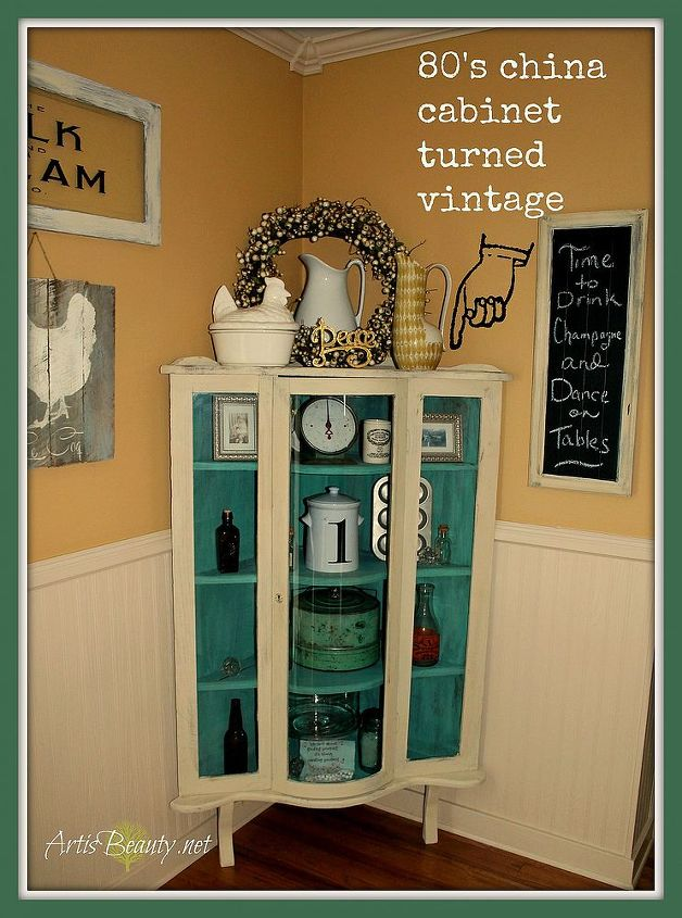 I love hows this once 80's oak now has a total VINTAGE look to organize all my vintage finds!