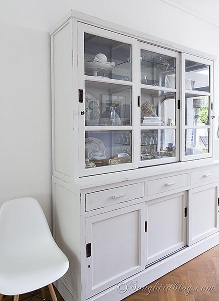 hutch makeover with milk paint  painted furniture  The milk paint has a  beautiful color. Going from colonial to Beach   Hutch Makeover With Milk Paint