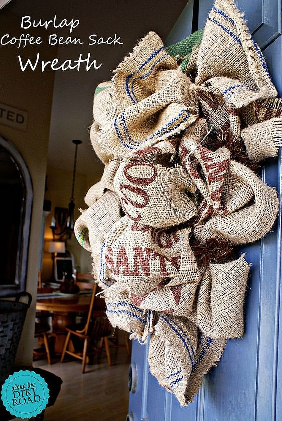 burlap coffee bean sack wreath, crafts, repurposing upcycling, seasonal holiday decor, wreaths, I love this wreath on our Slate Tile door