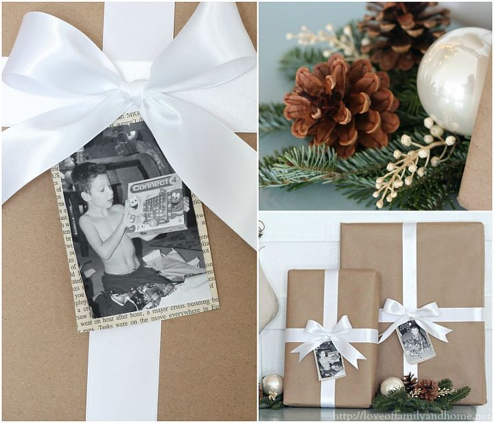 I wrapped some old boxes that I had lying around with brown paper & added a white ribbon along with some personalized photo gift tags.