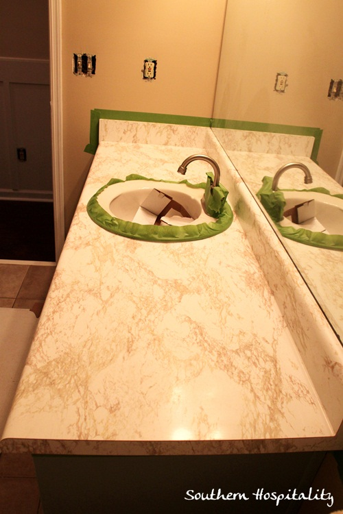update an old laminate countertop, countertops, Here s the BEFORE old ugly  faux marble