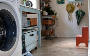 easy diy floor peel stick groutable vinyl tile, diy, flooring, laundry rooms, tile flooring