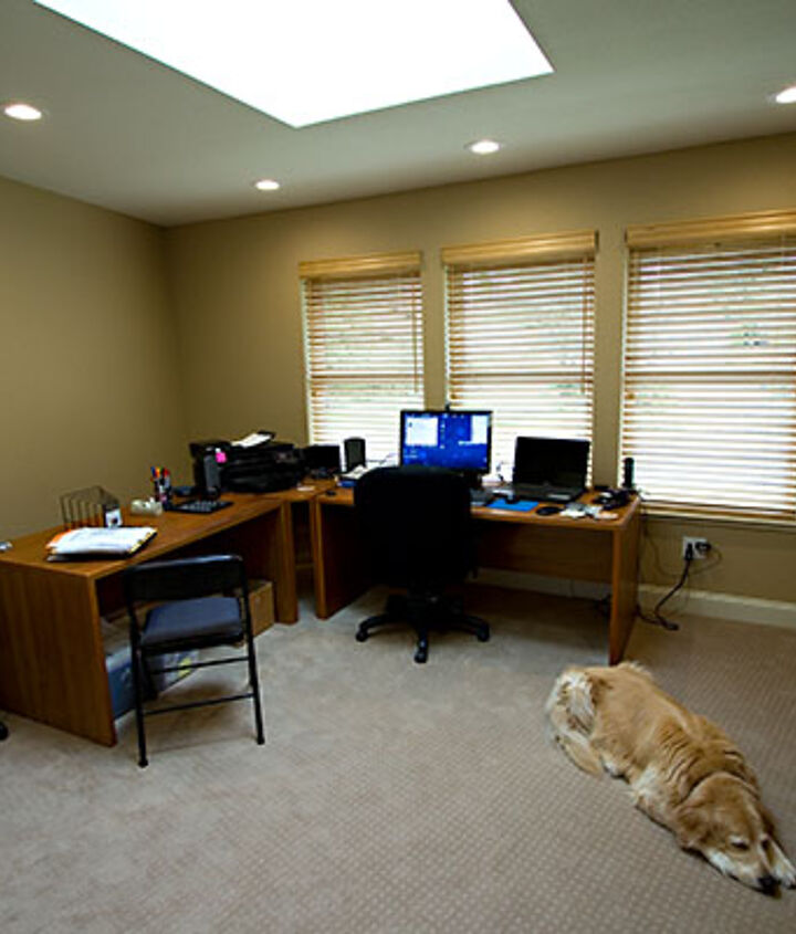 We were also able to fit this 170 sq. ft. office addition into the budget. That's Amber enjoying the new carpet.