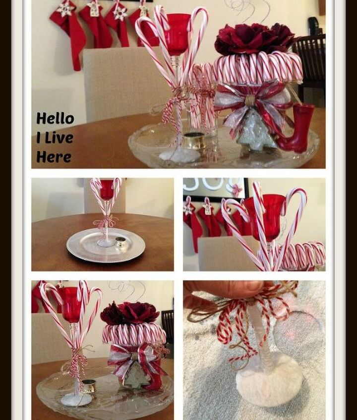 Pictures of the finished DIY Candy Cane Candle