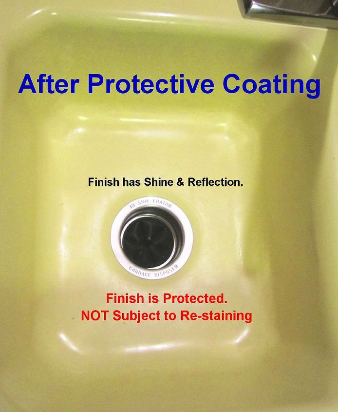 After Protective Coating: The Self-Cleen ST3 coating gave the sink a new finish that actually shines and reflects, as well as, prevents staining.  Coffee - you met your match!