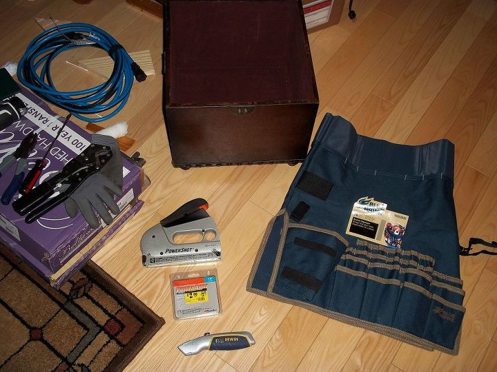 "Tools you will need, stapler with 1/4"" staples, box knife. The other tools are in picture 5."