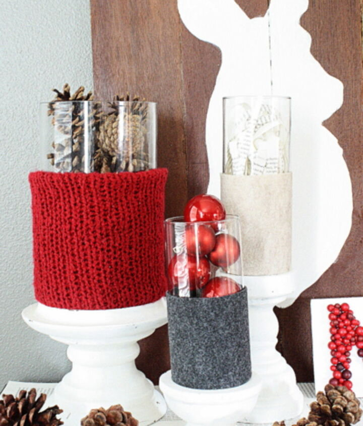 rustic red and gray vignette, christmas decorations, seasonal holiday decor, wreaths