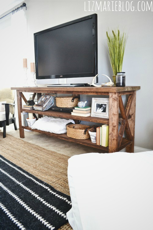 Diy rustic tv console hometalk - Media consoles for small spaces plan ...
