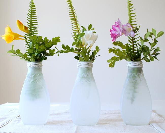 diy painted sea glass salsa jars