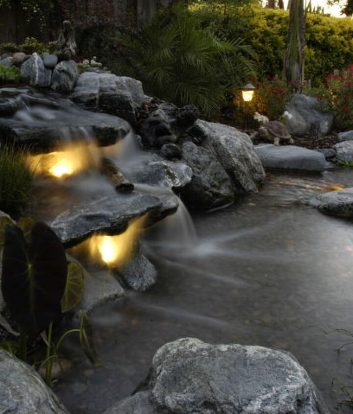 Underwater Lighting Brings a new life to a waterfall after dark.