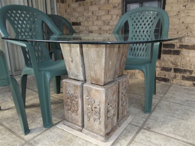 update on wood columns, outdoor furniture, outdoor living, painted furniture, repurposing upcycling