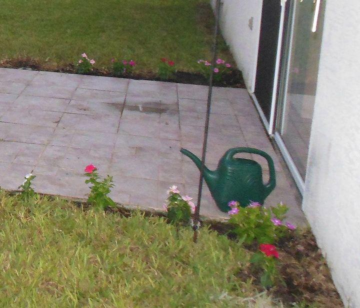 Vincas in different colors to soften the concrete tiled edge.    9/9/13