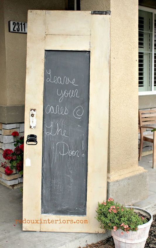how to make a weathered chalkboard door, chalkboard paint, painting, repurposing upcycling, A free to me door got a major makeover with CeCe Caldwells Myrtle Beach Sand