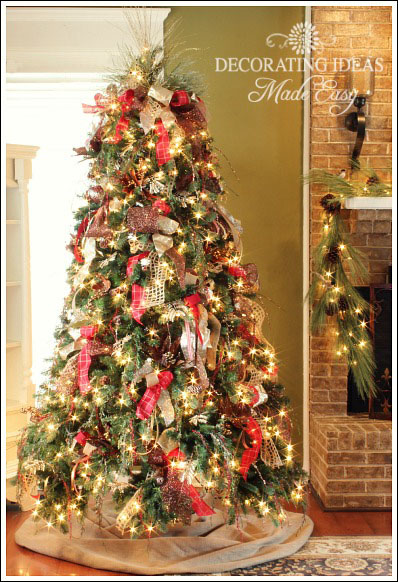 how to decorate a christmas tree with only ribbon and greenery, christmas  decorations, crafts - How To Decorate A Christmas Tree With Only Ribbon And Greenery