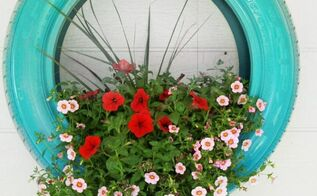 repurposed tires as flower planters, flowers, gardening, outdoor living, repurposing upcycling