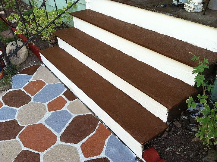 I then painted the stairs the dark brown