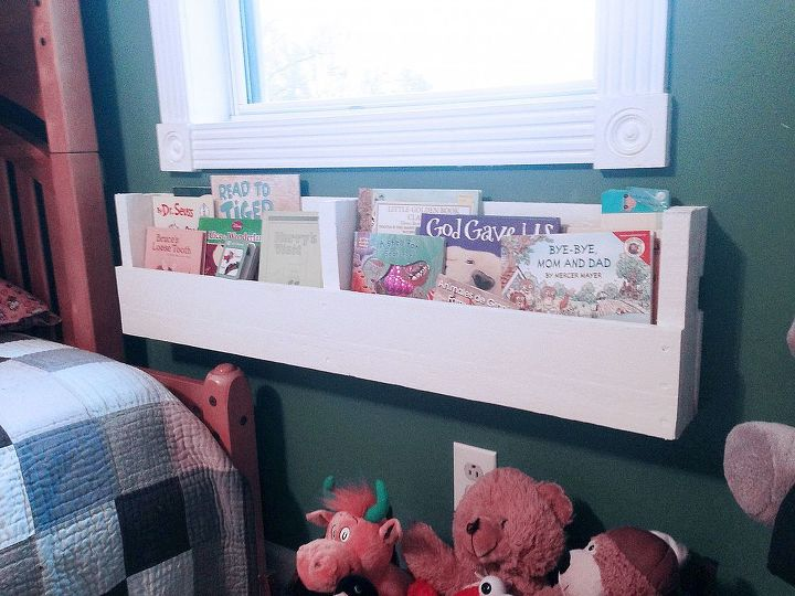 I mounted one of the 4 shelves directly underneath the window next to our kid's bed for easy bedtime reading access and cleanup.