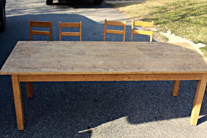 sunday school table transformed, painted furniture