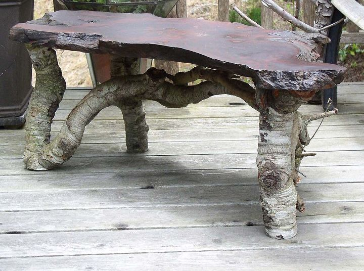 Oak and redwood garden table