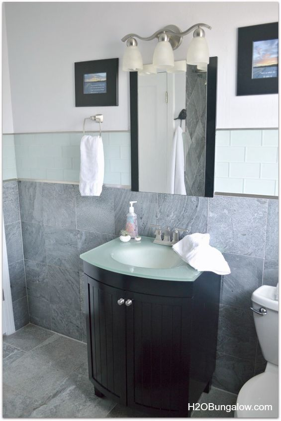 creative small bathroom remodel with slate and glass tile, bathroom ideas, diy, home improvement, small bathroom ideas, tiling