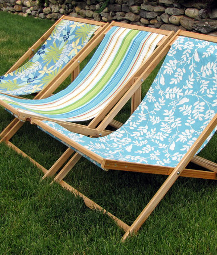 diy folding sling chairs, outdoor furniture, outdoor living, painted furniture