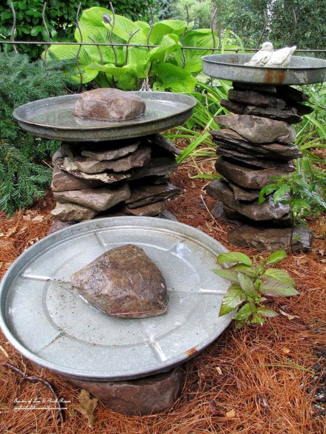Save out some stone to put in the top of each lid as a landing place for birds, to keep the lid in place if a larger bird or squirrel comes calling and for looks!
