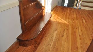 q steps, flooring, stairs, Walnut stair treads and refinished oak landing
