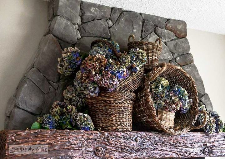 The baskets were just stacked, and hydrangeas