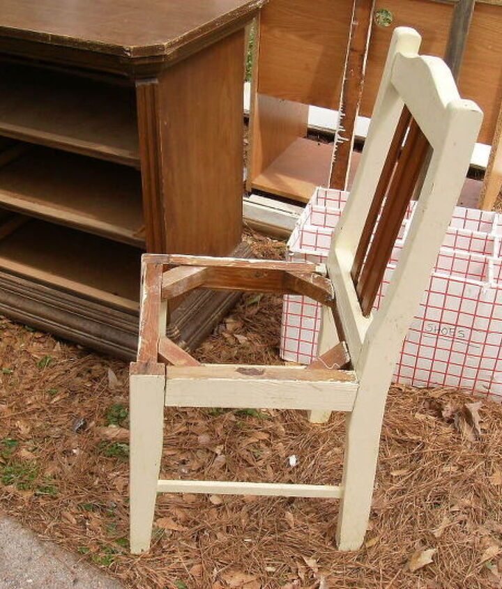 The chair needs a small amt of sturdying up, but not much at all. Just a little work, paint and a new seat and this can be a pretty little chair.