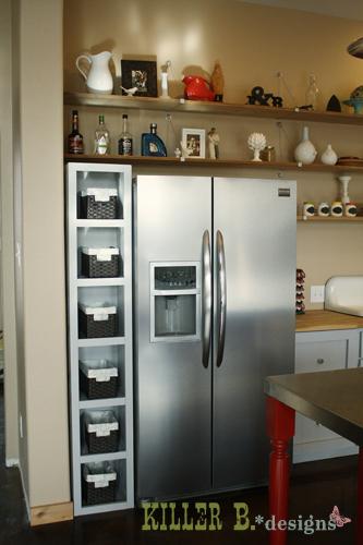 A six-shelf cubby unit for veggies and bills