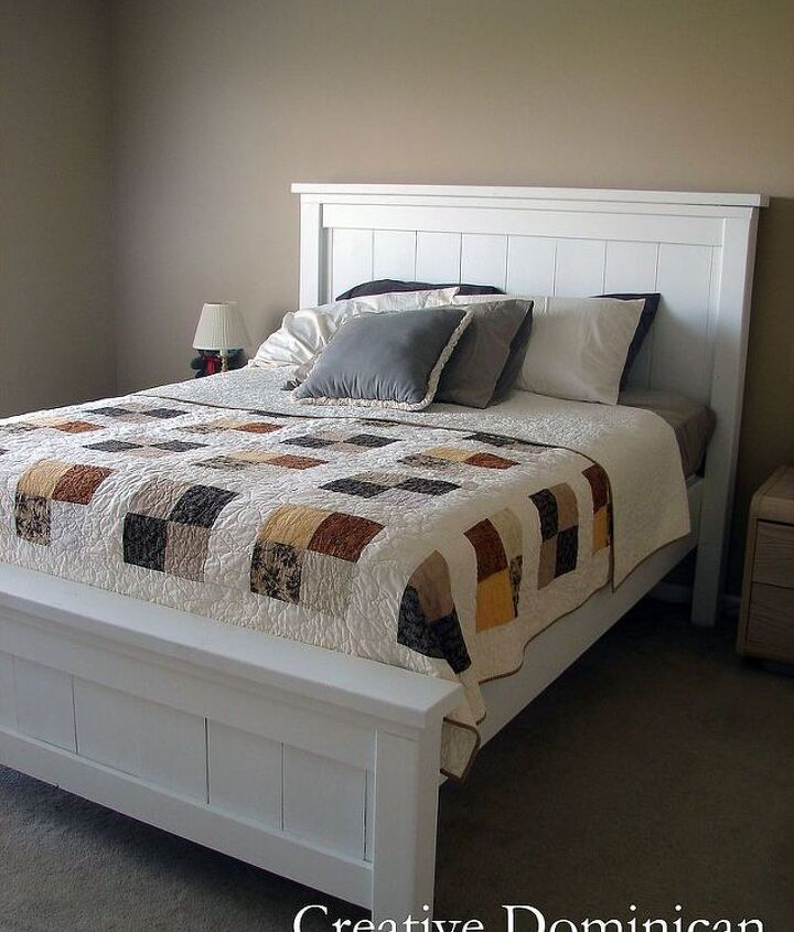 diy farmhouse bed, bedroom ideas, diy, painted furniture, woodworking projects