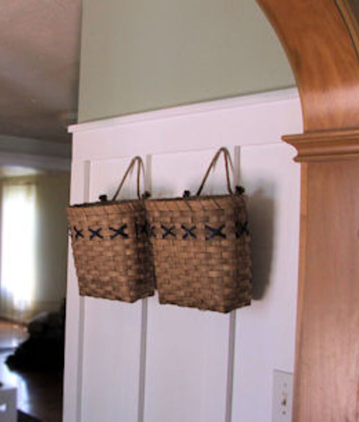 Kitchen Board & Batten (baskets are two fold to get clutter off the counters and hide the wall phone jack)
