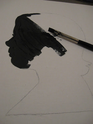 After tracing the subject's profile on the canvas board, it's just a matter of painting in the lines.