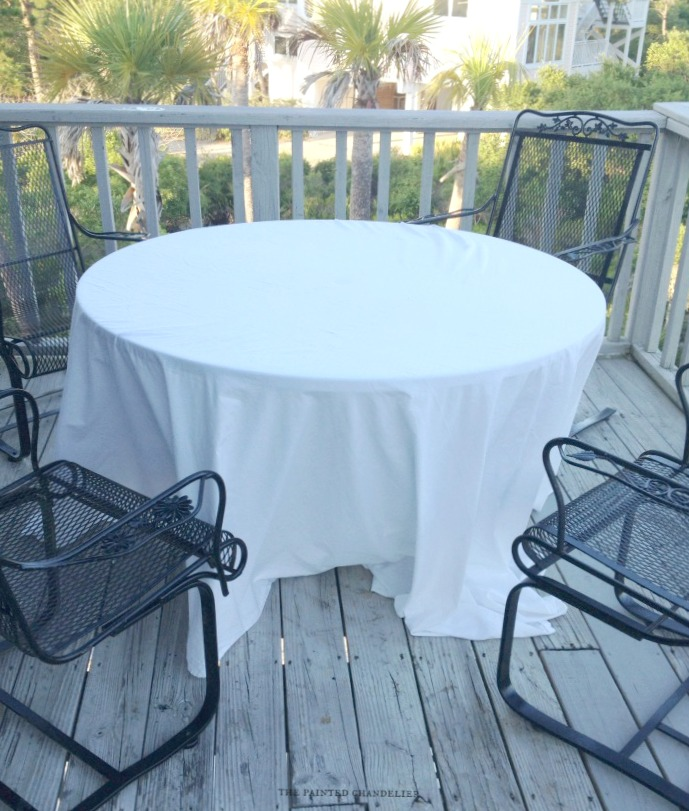 nature inspired beach table setting, home decor, outdoor living, A king size flat sheet is the tablecloth