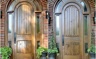 adding rustic clavos to our diy arched tudor door, curb appeal, doors, Here s a side by side look at the door without the clavos and with