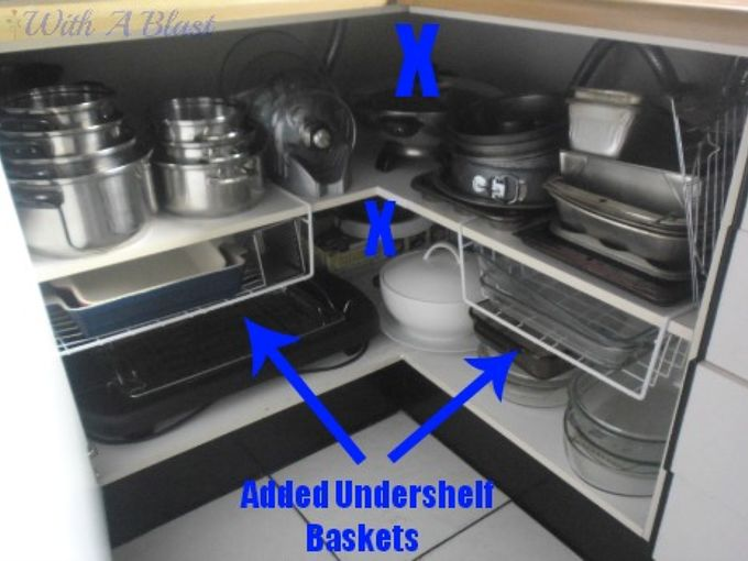 create easy access to the kitchen corner cabinets, cleaning tips, kitchen cabinets, kitchen design, With added under shelf baskets I gained even more space and as you can see it is being utilized 100