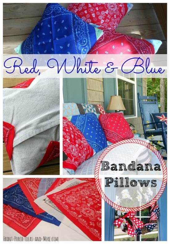 easy red white blue bandana pillows, outdoor living, patriotic decor ideas, porches, seasonal holiday decor
