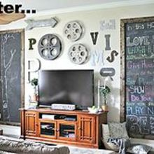 industrial style family room gallery wall with chalkboard art, home decor, wall decor
