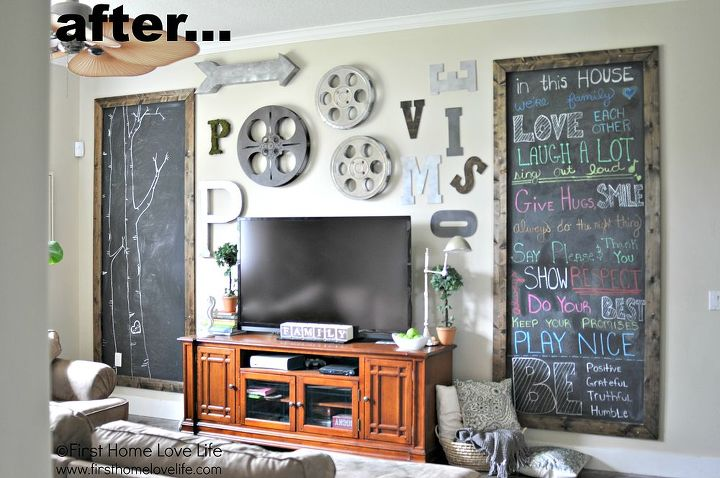 Industrial Style Family Room Gallery Wall With Chalkboard Art | Hometalk