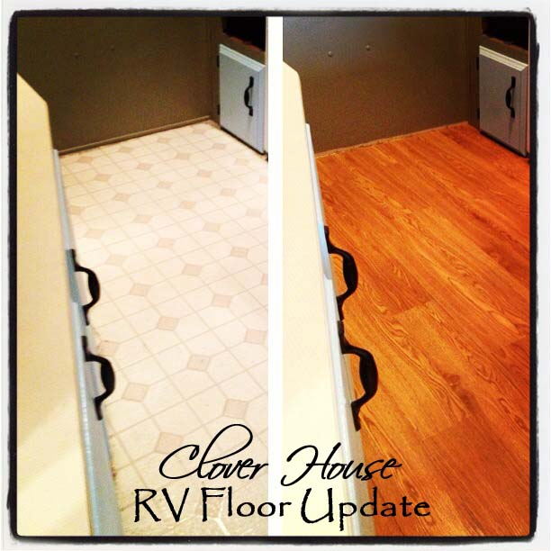 rv remodel on a budget floor update, flooring, home improvement, We went from the 80s to 2013 with a few boxes of peel and stick tiles
