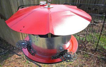 Repurposed / Upcycled Galvanized Vent Exhaust Hood Bird Feeder