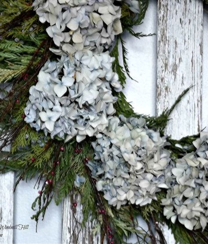 evergreen and hydrangea wreath, crafts, wreaths