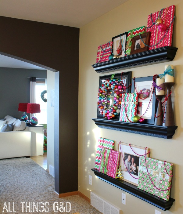 The other side of our Playroom/Office features this year's floor-to-ceiling Gift-Wrapped Photo Gallery Wall.