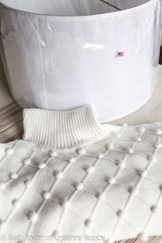 how to cozy up a lampshade with a thrift store sweater keepingcozy, home decor, lighting, All you need for this project is a hot glue gun a pretty sweater and a lampshade