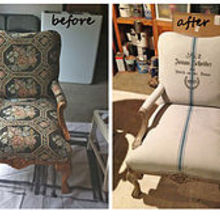 painting fabric upholstery with annie sloan chalk paint, chalk paint, painted furniture, repurposing upcycling, reupholster, Before and After of Annie Sloan Chalk Painted Upholstery