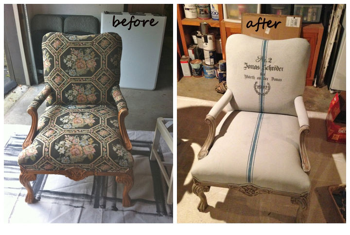 Before and After of Annie Sloan Chalk Painted Upholstery
