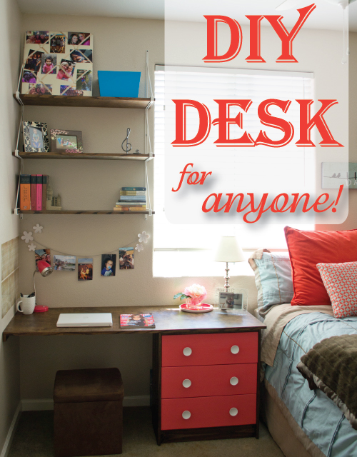 Diy Built Desk Nightstand Combination With Shelves Storage And Drawers Stained Bedroom Ideas Organizing