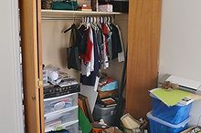craft closet makeover, cleaning tips, closet, craft rooms, home office, Before