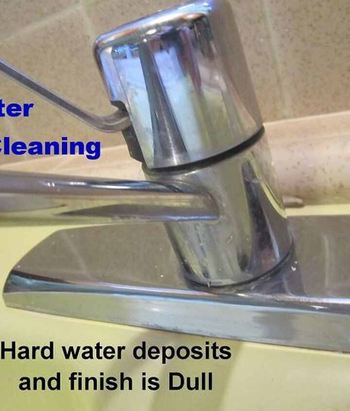 After Light Cleaning: Faucet has hard water deposits on and around it, as well as, peeking out from under the cover.