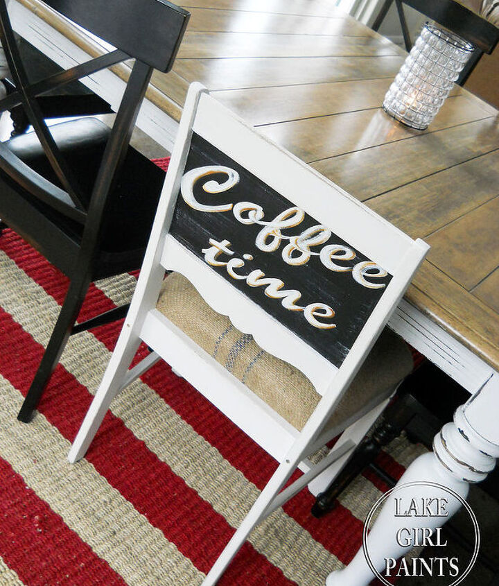 coffee and chalkboard inspired chair design, painted furniture